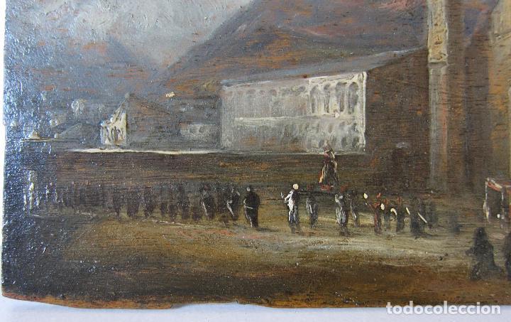 Arte: ATRIBUIDO A JENARO PEREZ VILLAAMIL. PROCESIÓN. OLEO SOBRE TABLA. 14,2 x 18,7 cm - Foto 4 - 248716470