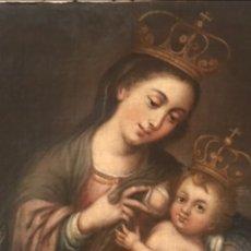 Arte: VIRGEN DE LA LECHE CON EL NIÑO SIGLO XVII. ESCUELA SEVILLANA. CON CERTIFICADO. OBRA DE MUSEO.. Lote 249011450