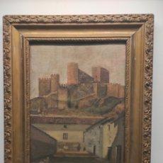 Arte: CASTILLO DE ALMANSA. OLEO SOBRE TABLA. ESCUELA VALENCIANA? FIRMADO NEBOT. CON MARCO 40X34CM. Lote 249050345