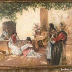 Arte: ÓLEO COSTUMBRISTA. ESCUELA ANDALUZA. LA BUENAVENTURA. PATIO ANDALUZ. GITANAS. Lote 249056165