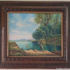Arte: EVELI PALÁ (BARCELONA, 1886-1961) - FIGURAS EN LA ORILLA DEL LAGO.OLEO/TELA.FIRMADO.. Lote 249120830