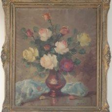 Arte: ANTONIO SELVAGGIO MANCINI (BARCELONA, 1921) - JARRON CON ROSAS.OLEO/TELA.FIRMADO.. Lote 249132610