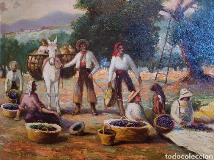 Arte: La recogida de la aceituna. Oleo sobre Lienzo - Foto 2 - 249202075