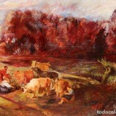 Arte: ANÓNIMO DE PRINCIPIOS DEL SIGLO XX. OLEO SOBRE LIENZO. PAISAJE CON FIGURAS Y ANIMALES. Lote 29313483