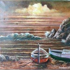 Arte: G. BACA, ÓLEO SOBRE LIENZO PLAYA DE SANTA CRISTINA FECHADO EN 1996 AL DORSO. Lote 249350305