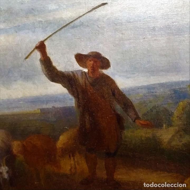 Arte: PASTOR CON REBAÑO DE OVEJAS. ANÓNIMO. ÓLEO SOBRE LIENZO. HOLANDA. SIGLO XVIII - Foto 18 - 249450125