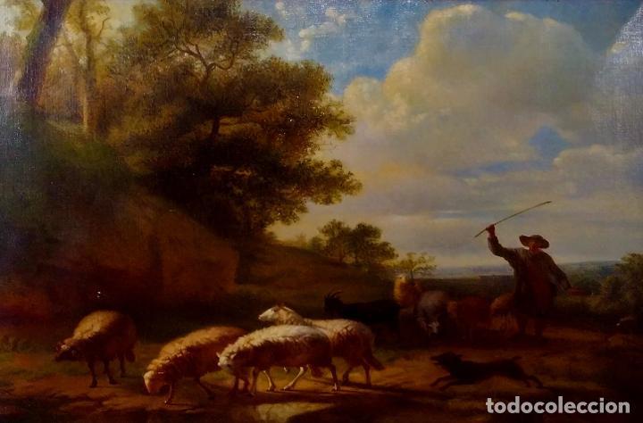 PASTOR CON REBAÑO DE OVEJAS. ANÓNIMO. ÓLEO SOBRE LIENZO. HOLANDA. SIGLO XVIII (Arte - Pintura - Pintura al Óleo Antigua siglo XVIII)