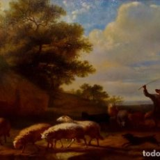 Arte: PASTOR CON REBAÑO DE OVEJAS. ANÓNIMO. ÓLEO SOBRE LIENZO. HOLANDA. SIGLO XVIII. Lote 249450125