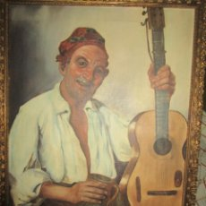 Arte: MUSICO CON GUITARRA PINTURA VALENCIANA OLEO IMPRESIONISTA LIENZO CIRCA 1920 PROCEDE DE ALICANTE. Lote 249570940