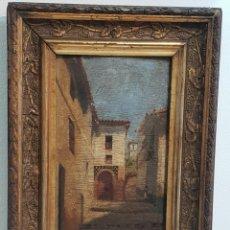 Arte: MAGNIFICO OLEO SOBRE TABLA . CALLE GRANADA . FIRMADO Y FECHADO EN 1901 . MEDIDAS CON MARCO 34 ×25. Lote 250134015