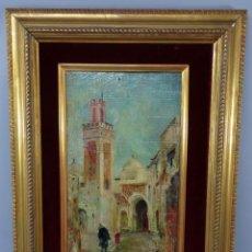 Arte: VISTA DE TETUÁN PINTADA AL ÓLEO SOBRE TABLA JOSÉ MONTENEGRO CAPELL FIRMADO Y FECHADO EN 1926. Lote 250162140