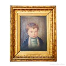 Arte: RETRATO AL OLEO DE DULCE NIÑO. POSIBLE OBRA DE BERNARDO LÓPEZ PIQUER. HACIA 1850. MARCO DE ÉPOCA.. Lote 250264450