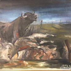 """Arte: EXCEPCIONAL ÓLEO """"EL LLANTO DE UN TORO"""" OBRA DE JOSÉ PUENTE. FIRMADO. Lote 251867455"""
