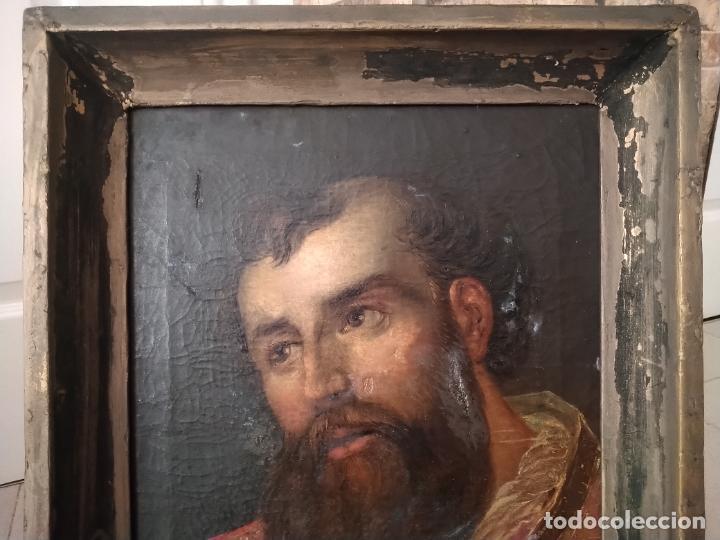 Arte: ANTIGUO ÓLEO SOBRE LIENZO DE SANTO, MARCO ANTIGUO DE MADERA Y PASTA. 54 X 43 CM. PINTURA 43 X 33 CM. - Foto 2 - 251938495