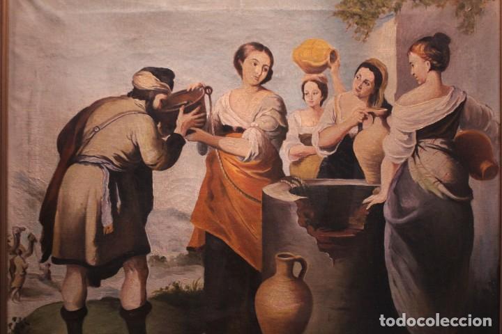 REBECA Y ELIEZER, COPIA DE MURILLO. OLEO SOBRE LIENZO. ENMARCADO (Arte - Pintura - Pintura al Óleo Antigua sin fecha definida)