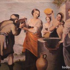 Arte: REBECA Y ELIEZER, COPIA DE MURILLO. OLEO SOBRE LIENZO. ENMARCADO. Lote 251990345