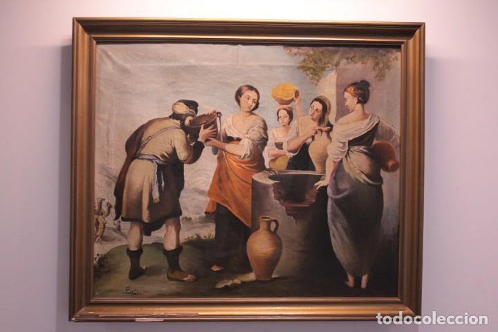 Arte: Rebeca y Eliezer, copia de Murillo. Oleo sobre lienzo. Enmarcado - Foto 2 - 251990345