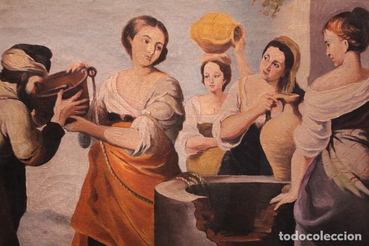 Arte: Rebeca y Eliezer, copia de Murillo. Oleo sobre lienzo. Enmarcado - Foto 3 - 251990345