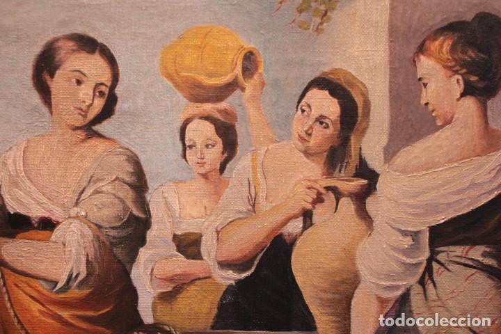 Arte: Rebeca y Eliezer, copia de Murillo. Oleo sobre lienzo. Enmarcado - Foto 4 - 251990345