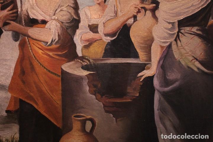 Arte: Rebeca y Eliezer, copia de Murillo. Oleo sobre lienzo. Enmarcado - Foto 5 - 251990345