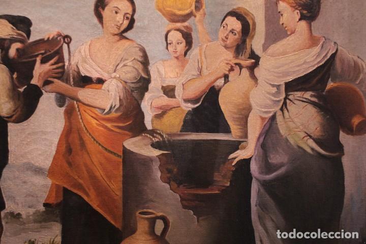 Arte: Rebeca y Eliezer, copia de Murillo. Oleo sobre lienzo. Enmarcado - Foto 6 - 251990345