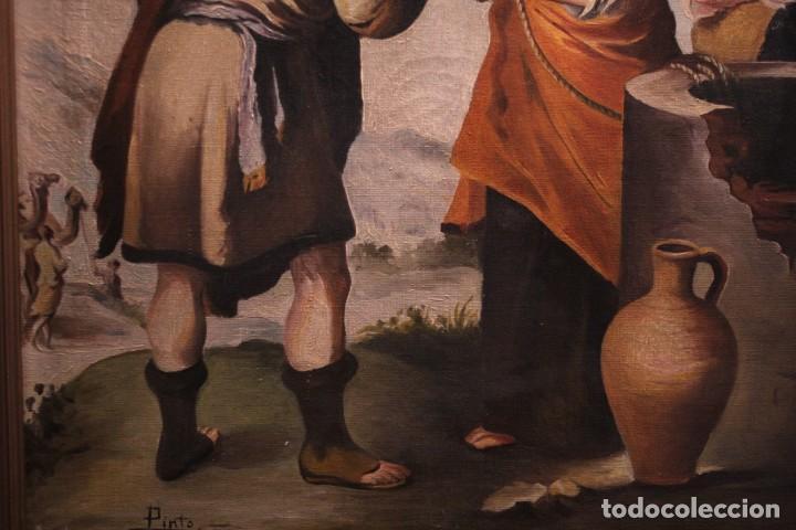 Arte: Rebeca y Eliezer, copia de Murillo. Oleo sobre lienzo. Enmarcado - Foto 7 - 251990345