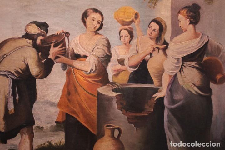 Arte: Rebeca y Eliezer, copia de Murillo. Oleo sobre lienzo. Enmarcado - Foto 8 - 251990345