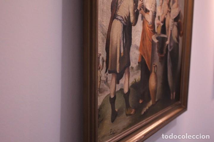 Arte: Rebeca y Eliezer, copia de Murillo. Oleo sobre lienzo. Enmarcado - Foto 10 - 251990345