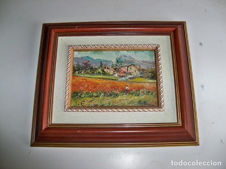 Arte: Cuadro al óleo Paisaje y campesinos - Foto 2 - 252077535