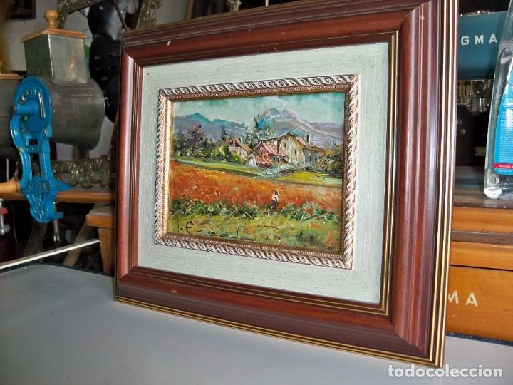 Arte: Cuadro al óleo Paisaje y campesinos - Foto 3 - 252077535