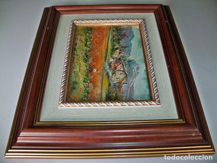 Arte: Cuadro al óleo Paisaje y campesinos - Foto 5 - 252077535