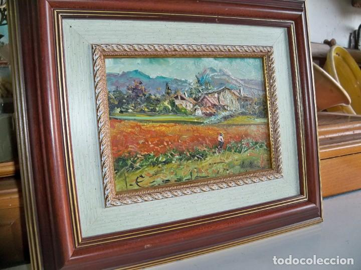 Arte: Cuadro al óleo Paisaje y campesinos - Foto 8 - 252077535