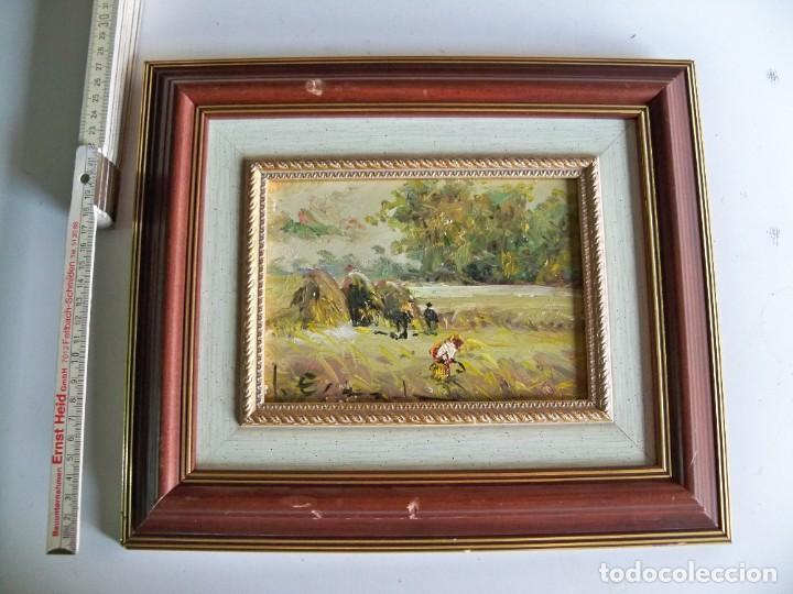 Arte: Cuadro al óleo Paisaje y campesinos - Foto 5 - 252077955