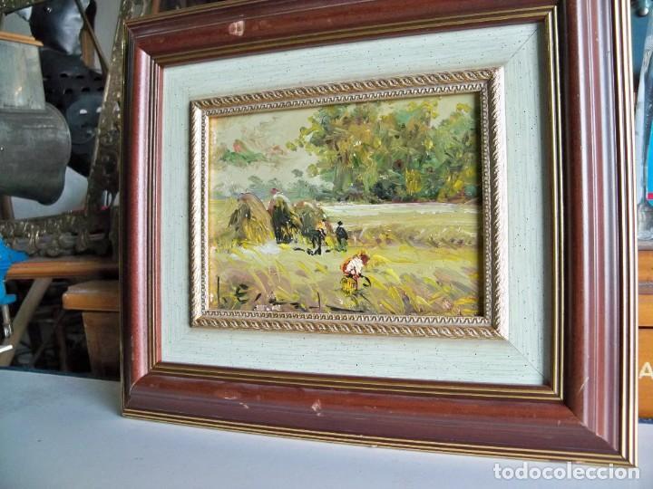 Arte: Cuadro al óleo Paisaje y campesinos - Foto 6 - 252077955
