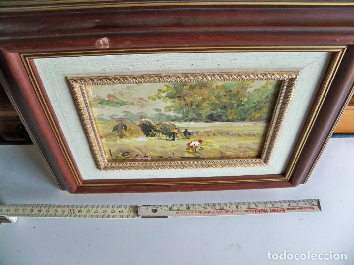 Arte: Cuadro al óleo Paisaje y campesinos - Foto 8 - 252077955