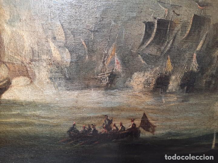 Arte: oleo sobre lienzo-BATALLA NAVAL- - Foto 5 - 200749538