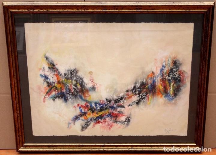 Arte: DON FINK (Duluth, Minessota, Estados Unidos, 1923 - 2010) TECNICA MIXTA DEL AÑO 1990. ABSTRACCION - Foto 2 - 252157385