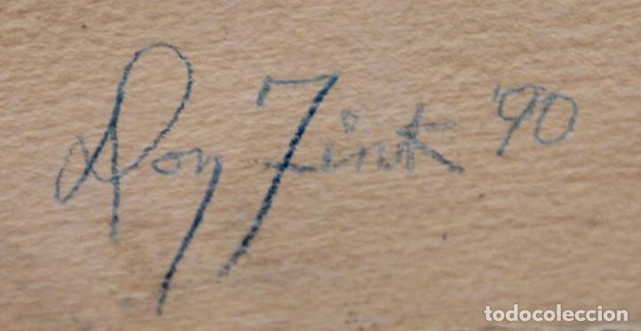 Arte: DON FINK (Duluth, Minessota, Estados Unidos, 1923 - 2010) TECNICA MIXTA DEL AÑO 1990. ABSTRACCION - Foto 11 - 252157385
