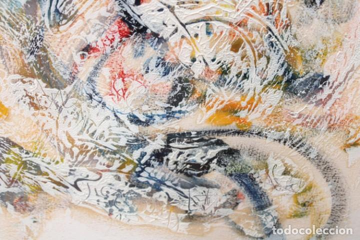 Arte: DON FINK (Duluth, Minessota, Estados Unidos, 1923 - 2010) TECNICA MIXTA DEL AÑO 1990. ABSTRACCION - Foto 6 - 252157850