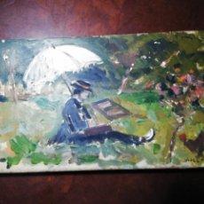 Arte: ÓLEO TABLA ORIGINAL DE VIVES MARISTANY: ARTISTA CON SOMBRILLA PINTANDO EN EL CAMPO.. Lote 239898865