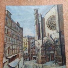 Arte: PINTURA AL ÓLEO DE EMILI FABREGAS BALLÚS – BARCELONA, 1921 – 1974 (SANTA MARÍA DEL MAR) BARCELONA. Lote 252253460