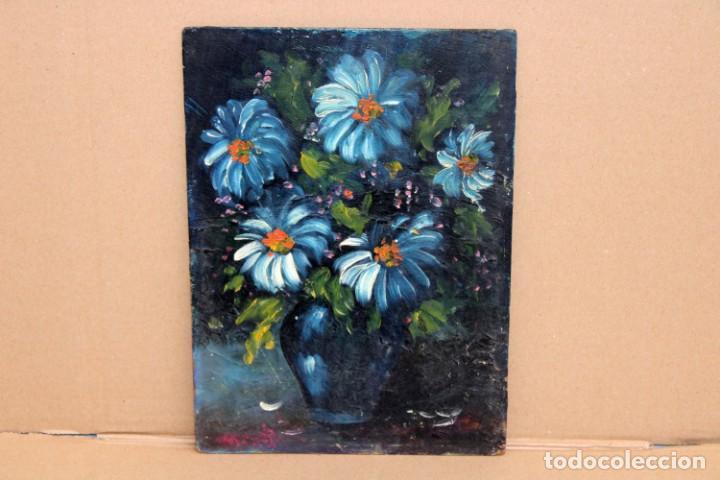 ILEGIBLE. OLEO SOBRE TABLA. JARRON CON FLORES (Arte - Pintura - Pintura al Óleo Contemporánea )