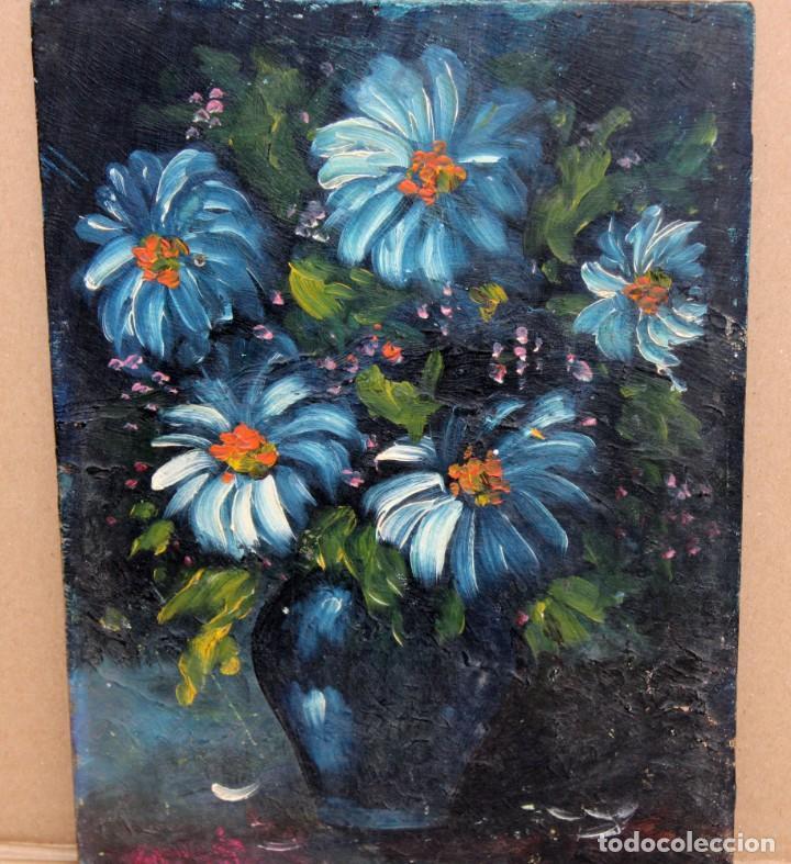 Arte: ILEGIBLE. OLEO SOBRE TABLA. JARRON CON FLORES - Foto 2 - 252284670