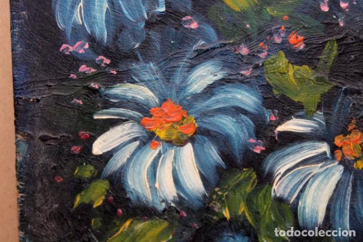 Arte: ILEGIBLE. OLEO SOBRE TABLA. JARRON CON FLORES - Foto 3 - 252284670
