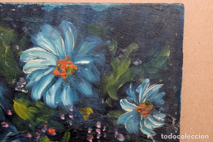 Arte: ILEGIBLE. OLEO SOBRE TABLA. JARRON CON FLORES - Foto 4 - 252284670
