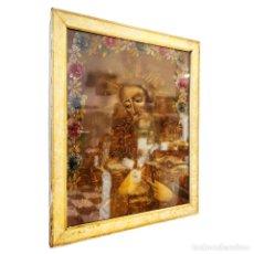 Arte: OLEO JESÚS CON ROSARIO Y LLAVE. ORLA DE FLORES. SIGLO XIX. ENMARCADO CON CRISTAL. 61 X 51 CM.. Lote 252663735