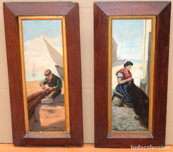 ESCUELA ESPAÑOLA DE APROXIMADAMENTE 1900. PAREJA D OLEOS SOBRE TELA DE AUTOR DESCONOCIDO. PESCADORES (Arte - Pintura - Pintura al Óleo Contemporánea )