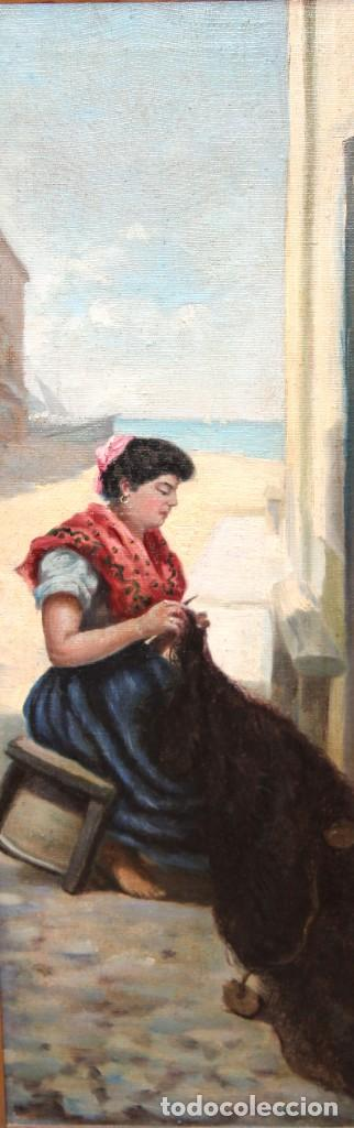 Arte: ESCUELA ESPAÑOLA DE APROXIMADAMENTE 1900. PAREJA D OLEOS SOBRE TELA DE AUTOR DESCONOCIDO. PESCADORES - Foto 4 - 252756475