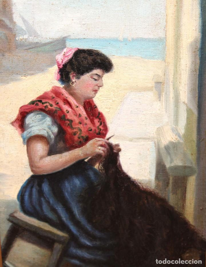 Arte: ESCUELA ESPAÑOLA DE APROXIMADAMENTE 1900. PAREJA D OLEOS SOBRE TELA DE AUTOR DESCONOCIDO. PESCADORES - Foto 6 - 252756475