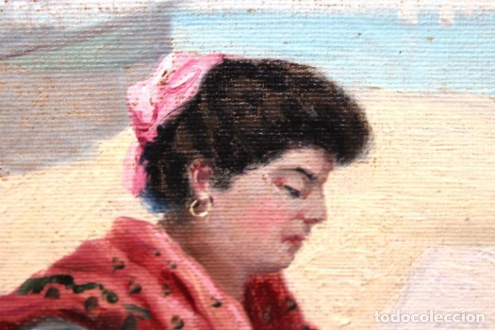 Arte: ESCUELA ESPAÑOLA DE APROXIMADAMENTE 1900. PAREJA D OLEOS SOBRE TELA DE AUTOR DESCONOCIDO. PESCADORES - Foto 9 - 252756475